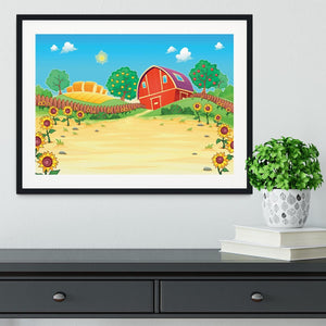 Funny landscape with the farm and sunflowers Framed Print - Canvas Art Rocks - 1