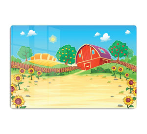 Funny landscape with the farm and sunflowers HD Metal Print