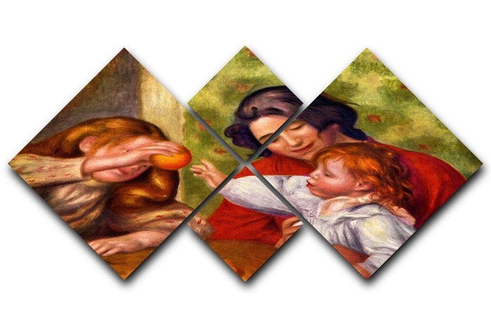 Gabrielle Jean and a girl by Renoir 4 Square Multi Panel Canvas