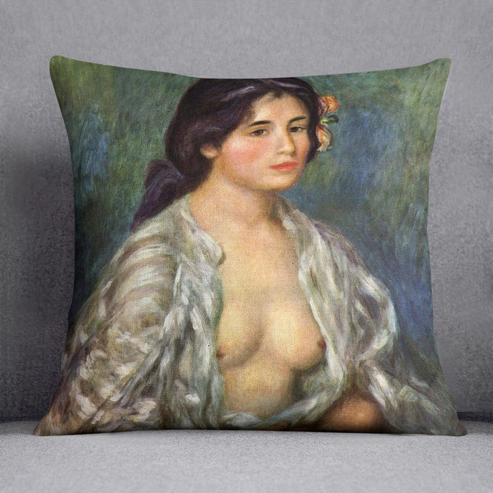 Gabrielle with open blouse by Renoir Throw Pillow