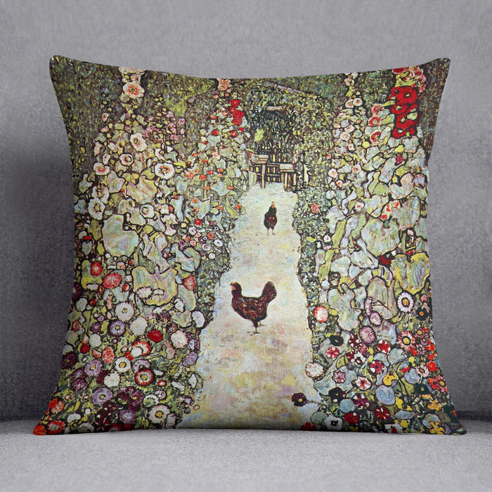 Garden Path with Chickens by Klimt Throw Pillow