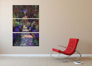 Garden at Giverny by Monet 3 Split Panel Canvas Print - Canvas Art Rocks - 2