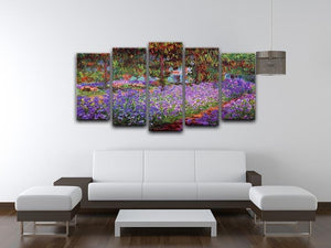 Garden in Giverny by Monet 5 Split Panel Canvas - Canvas Art Rocks - 3