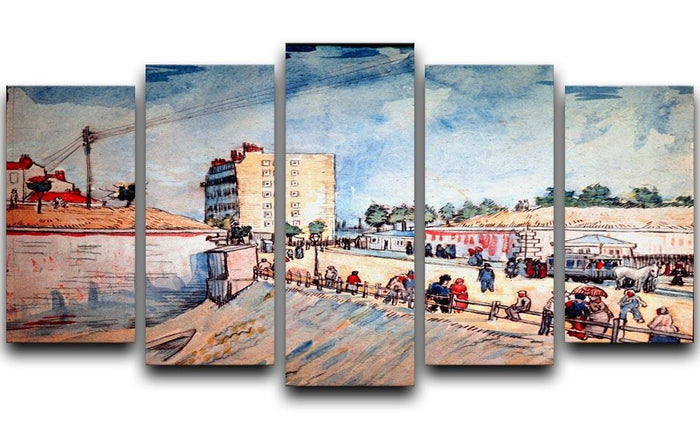 Gate in the Paris Ramparts by Van Gogh 5 Split Panel Canvas