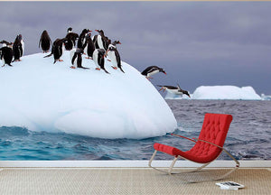 Gentoo penguin jumping into water Wall Mural Wallpaper - Canvas Art Rocks - 2