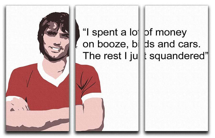 George Best Booze Birds and Cars 3 Split Panel Canvas Print