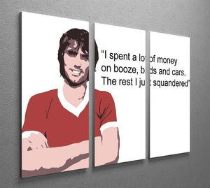 George Best Booze Birds and Cars 3 Split Panel Canvas Print - Canvas Art Rocks - 2