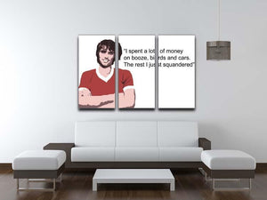 George Best Booze Birds and Cars 3 Split Panel Canvas Print - Canvas Art Rocks - 3