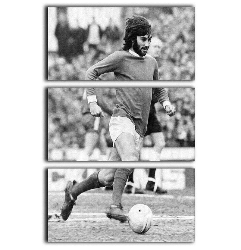 George Best Manchester United 3 Split Panel Canvas Print - Canvas Art Rocks - 1