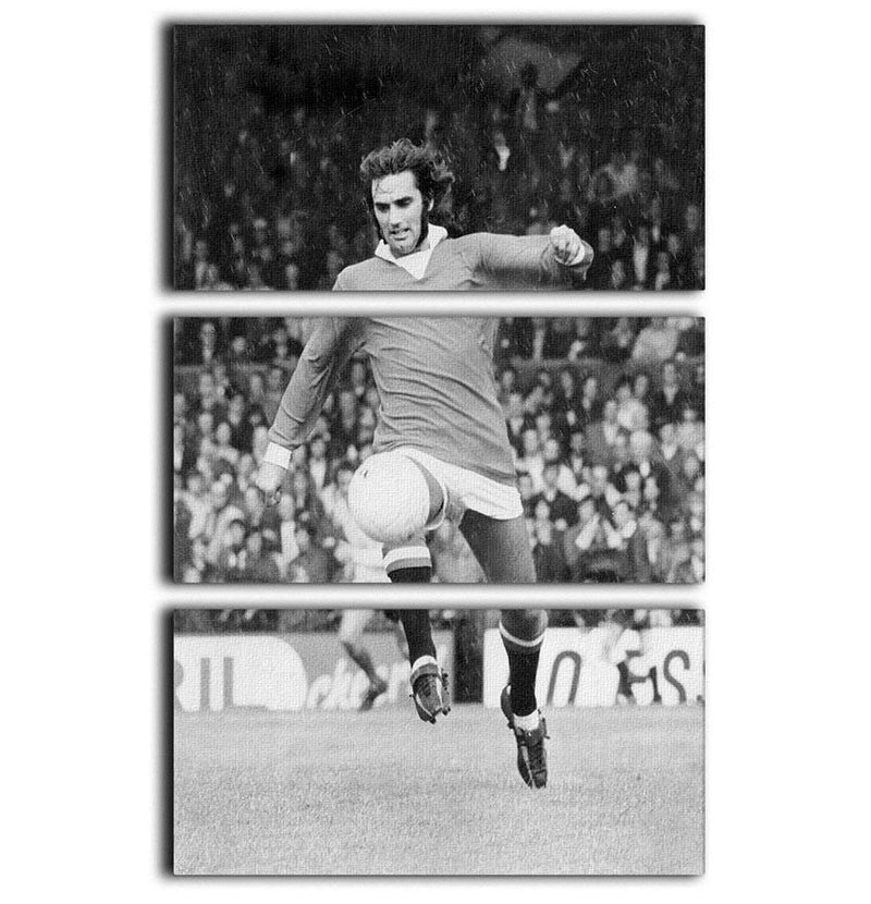 George Best Manchester United in 1971 3 Split Panel Canvas Print - Canvas Art Rocks - 1