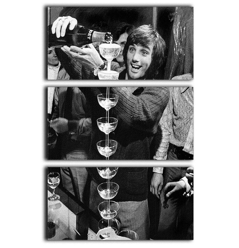George Best pouring champagne 3 Split Panel Canvas Print - Canvas Art Rocks - 1