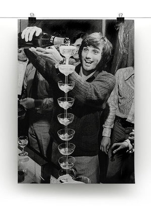 George Best pouring champagne Canvas Print or Poster - Canvas Art Rocks - 2