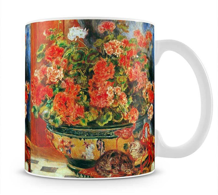 Geraniums and cats by Renoir Mug