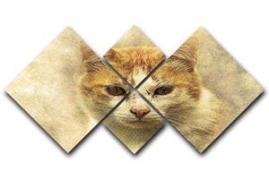 Ginger Cat Painting 4 Square Multi Panel Canvas  - Canvas Art Rocks - 1