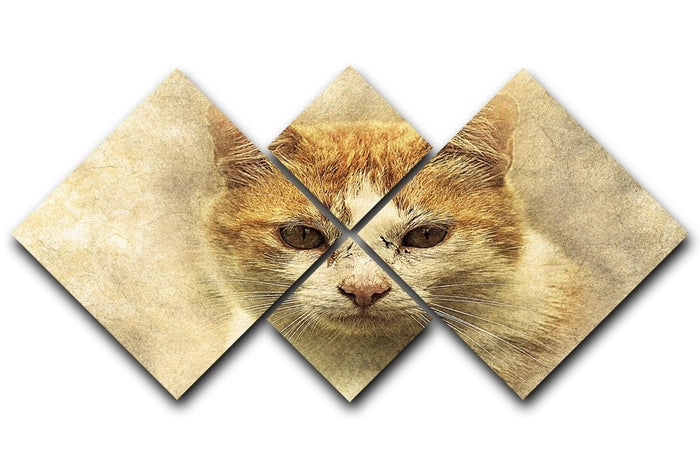Ginger Cat Painting 4 Square Multi Panel Canvas