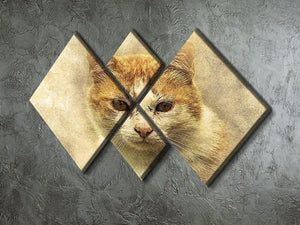 Ginger Cat Painting 4 Square Multi Panel Canvas - Canvas Art Rocks - 2