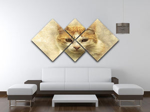 Ginger Cat Painting 4 Square Multi Panel Canvas - Canvas Art Rocks - 3