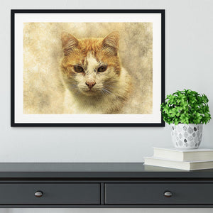 Ginger Cat Painting Framed Print - Canvas Art Rocks - 1