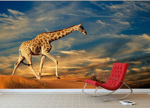 Giraffe walking on a sand dune with clouds South Africa Wall Mural Wallpaper - Canvas Art Rocks - 2