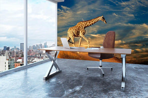 Giraffe walking on a sand dune with clouds South Africa Wall Mural Wallpaper - Canvas Art Rocks - 3
