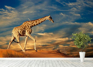 Giraffe walking on a sand dune with clouds South Africa Wall Mural Wallpaper - Canvas Art Rocks - 4