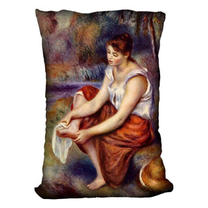 Girl dryes her feet by Renoir Throw Pillow