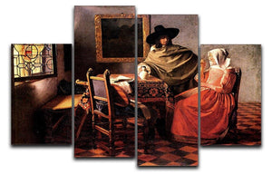 Glass of wine by Vermeer 4 Split Panel Canvas - Canvas Art Rocks - 1