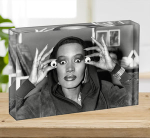 Grace Jones is all eyes Acrylic Block - Canvas Art Rocks - 2