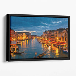 Grand Canal Venice at night Floating Framed Canvas