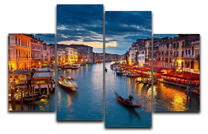 Grand Canal at night Venice 4 Split Panel Canvas  - Canvas Art Rocks - 1