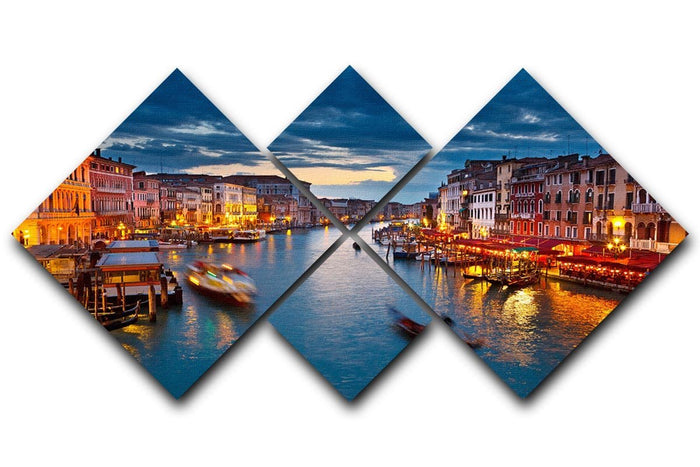 Grand Canal at night Venice 4 Square Multi Panel Canvas