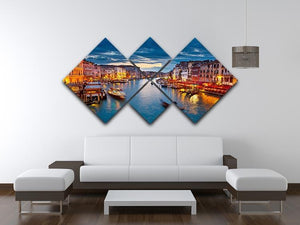 Grand Canal at night Venice 4 Square Multi Panel Canvas  - Canvas Art Rocks - 3