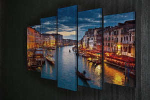 Grand Canal at night Venice 5 Split Panel Canvas  - Canvas Art Rocks - 2