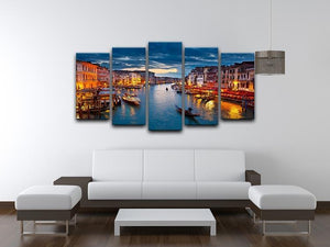 Grand Canal at night Venice 5 Split Panel Canvas  - Canvas Art Rocks - 3