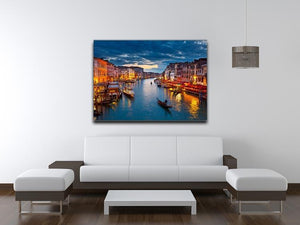 Grand Canal at night Venice Canvas Print or Poster - Canvas Art Rocks - 4
