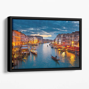 Grand Canal at night Venice Floating Framed Canvas