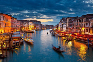 Grand Canal at night Venice Wall Mural Wallpaper - Canvas Art Rocks - 1