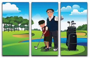Grandfather teaching his grandson playing golf 3 Split Panel Canvas Print - Canvas Art Rocks - 1