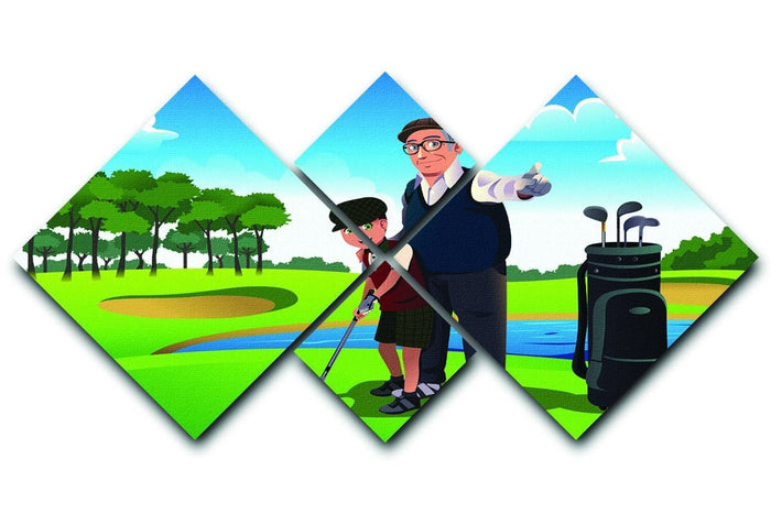 Grandfather teaching his grandson playing golf 4 Square Multi Panel Canvas