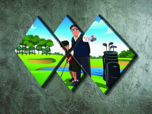 Grandfather teaching his grandson playing golf 4 Square Multi Panel Canvas - Canvas Art Rocks - 2