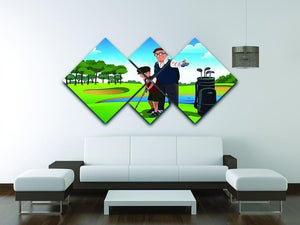 Grandfather teaching his grandson playing golf 4 Square Multi Panel Canvas - Canvas Art Rocks - 3