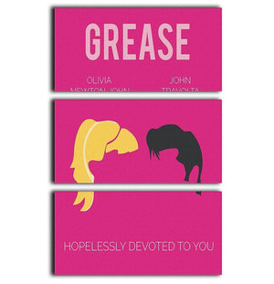 Grease Minimal Movie 3 Split Panel Canvas Print - Canvas Art Rocks - 1