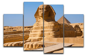 Great Sphinx with the pyramid of Menkaure 4 Split Panel Canvas  - Canvas Art Rocks - 1