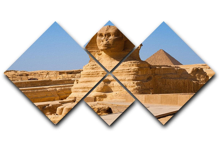 Great Sphinx with the pyramid of Menkaure 4 Square Multi Panel Canvas