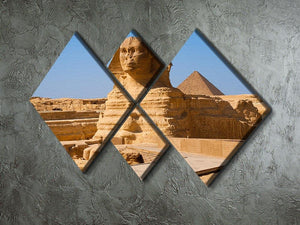 Great Sphinx with the pyramid of Menkaure 4 Square Multi Panel Canvas  - Canvas Art Rocks - 2