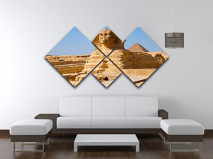 Great Sphinx with the pyramid of Menkaure 4 Square Multi Panel Canvas  - Canvas Art Rocks - 3