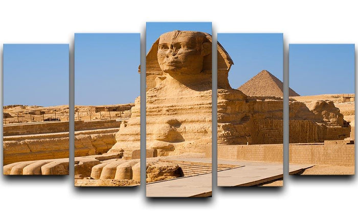 Great Sphinx with the pyramid of Menkaure 5 Split Panel Canvas