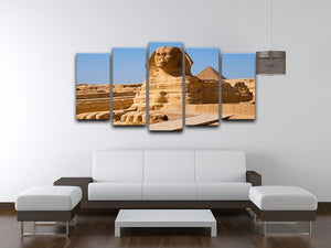 Great Sphinx with the pyramid of Menkaure 5 Split Panel Canvas  - Canvas Art Rocks - 3