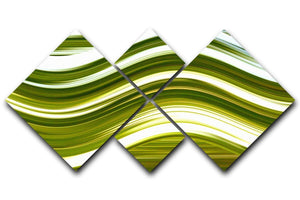 Green Wave 4 Square Multi Panel Canvas - Canvas Art Rocks - 1