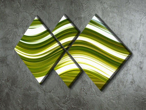 Green Wave 4 Square Multi Panel Canvas - Canvas Art Rocks - 2